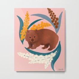 Wombat and Mimosa (aka waddle and wattle) Metal Print