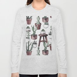 Happy Potted Cacti in Rose Gold Pots Long Sleeve T-shirt