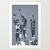 power rangers Art Prints featuring Black Power Rangers by .escobar