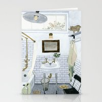 bathroom Stationery Cards featuring In The Bathroom by Yuliya