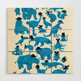 Blue Animals Black Hats Wood Wall Art