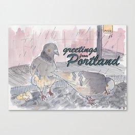 Portland Pigeons - Big Pink GREETINGS Canvas Print