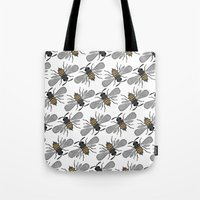 bees Tote Bags featuring bees by Huntleigh