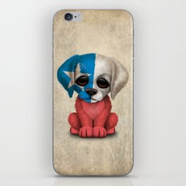 Cute Puppy Dog with flag of Chile iPhone Skin