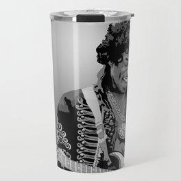 Jimi Hendrix Black And White Illustration Travel Mug