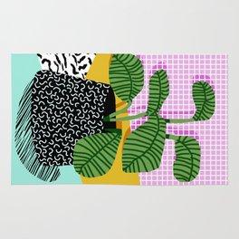 Decent - memphis retro neon throwback illustration pop art houseplant socal urban kids trendy art Rug