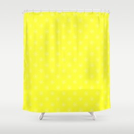 Cream Yellow on Electric Yellow Snowflakes Shower Curtain