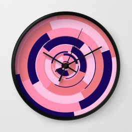 Spinning colourful rings on blue and pink chessboard Wall Clock