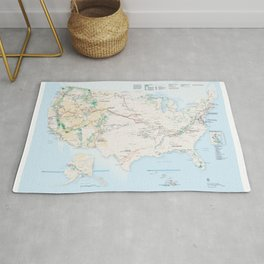 National Parks Trail Map Rug