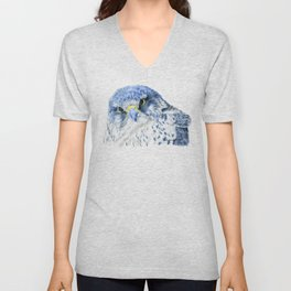 """""""Here's Looking At You"""" painting of a Gyrfalcon by Teresa Thompson Unisex V-Neck"""