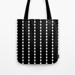 Geometric Droplets Pattern Linked White on Black Tote Bag