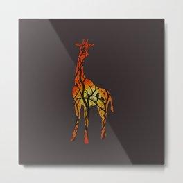 Sunset Giraffe Metal Print