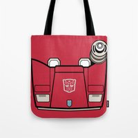 transformers Tote Bags featuring Transformers - Sideswipe by CaptainLaserBeam