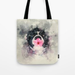 Dog with Flower Tote Bag
