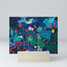 Brightly Rainbow Tropical Jungle Mural with Birds and Tiny Big Cats Mini Art Print
