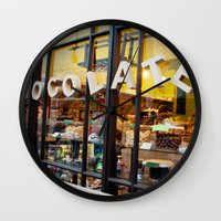 chocolate Wall Clocks featuring chocolate by The Last Sparrow