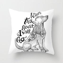 Where Thou Goest- Black & White Throw Pillow