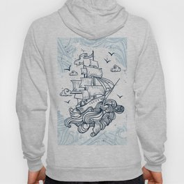 Hand drawn boat with waves background Hoody