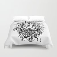 virgo Duvet Covers featuring Virgo by Anna Shell