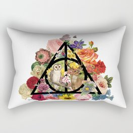 Floral Deathly Hallows Owl and Stag - Black Rectangular Pillow
