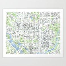 Washington DC Map watercolor gray green blue Art Print