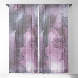 Abstract Ink Painting Ethereal Flowing Watercolor Nebula Sheer Curtain