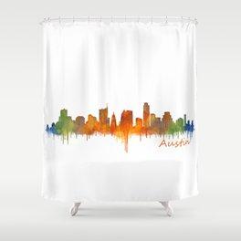 Austin Texas, City Skyline, watercolor  Cityscape Hq v2 Shower Curtain