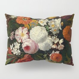 "Philip van Kouwenbergh ""Still life of flowers with roses, peonies, hollyhock, tulips, grapes..."" Pillow Sham"