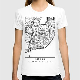 LISBON PORTUGAL BLACK CITY STREET MAP ART T-shirt