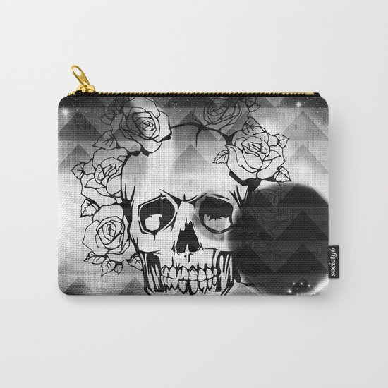 bw space skull  Carry-All Pouch