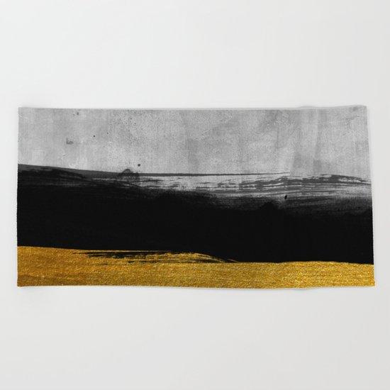 Black and Gold grunge stripes on modern grey beton abstract backround I- Stripe- Striped Beach Towel