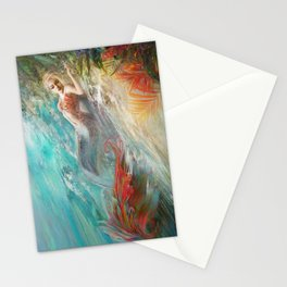 Mermaid sunbathing on the beach fantasy Stationery Cards