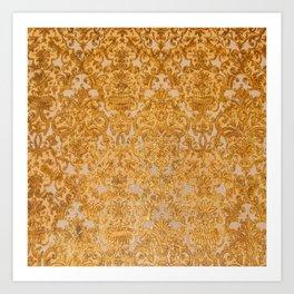 Elegant chic lux look gold grunge floral damask Art Print