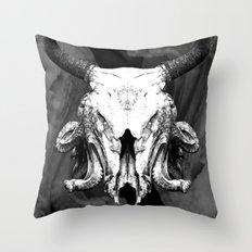 SquidBull Skull Throw Pillow