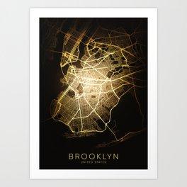 brooklyn nyc usa america city night light map Art Print