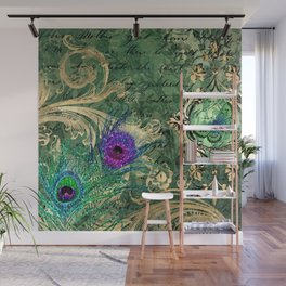 Vintage Green Peacock Wall Mural
