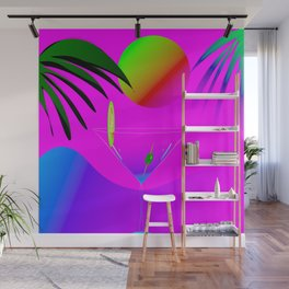Colorful ,exotic,tropical des,sunset,cocktail,palm trees Wall Mural