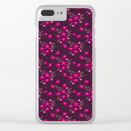The floral pattern on the grid . Black and crimson pattern . Clear iPhone Case