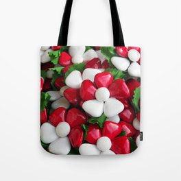 Flowers with sugared almonds as petals. Tote Bag