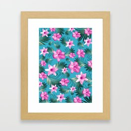 Tropical Flowers Palm Leaves Finesse #3 #tropical #decor #art #society6 Framed Art Print