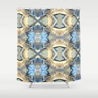 bands Shower Curtains featuring Blue And Beige Bands by Phil Perkins