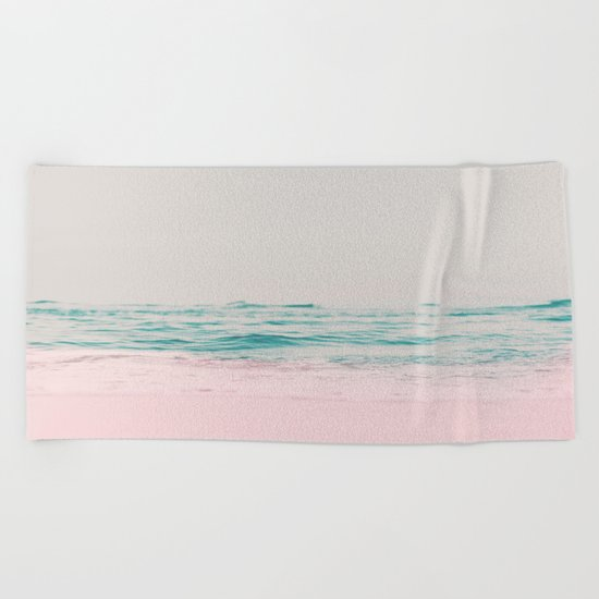 Vintage Pastel Ocean Waves Beach Towel