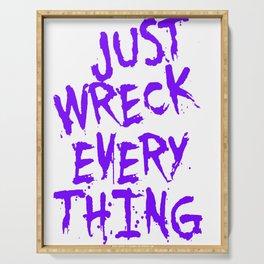 Just Wreck Everything Violet Blue Grunge Graffiti Serving Tray
