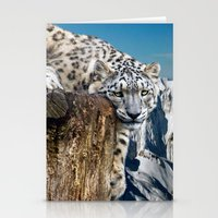 snow leopard Stationery Cards featuring snow leopard by Doug McRae