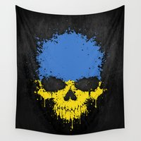 ukraine Wall Tapestries featuring Flag of Ukraine on a Chaotic Splatter Skull by Jeff Bartels