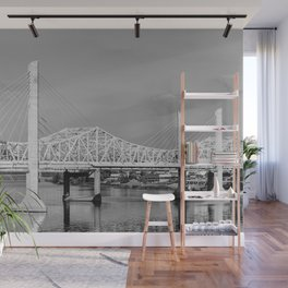 Louisville Bridges on the Ohio River - Black and White Wall Mural