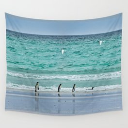 Falkland Island Seascape with Penguins Wall Tapestry
