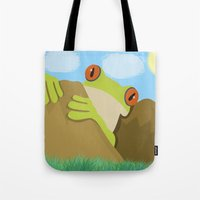 spawn Tote Bags featuring Frog by Nir P