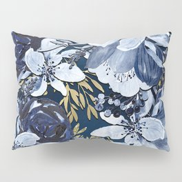 Navy Blue & Gold Watercolor Floral Pillow Sham