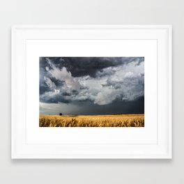 Cotton Candy - Storm Clouds Over Wheat Field in Kansas Framed Art Print
